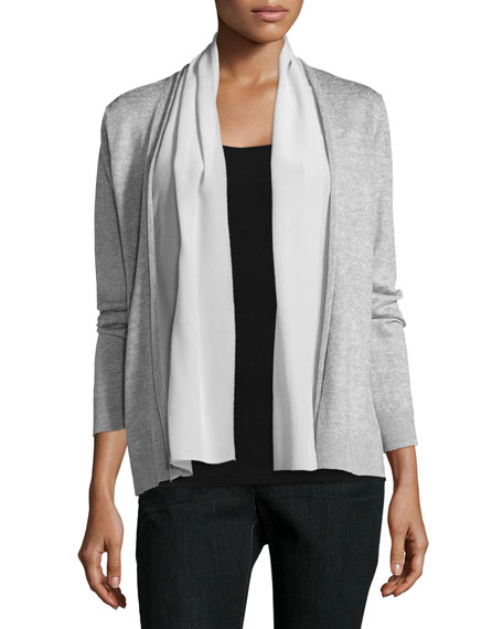 Eileen Fisher Polished Linen-Blend Straight Cardigan