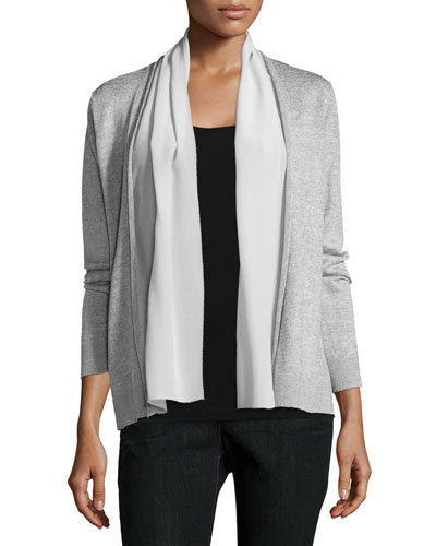 Polished Linen-Blend Straight Cardigan, Women's