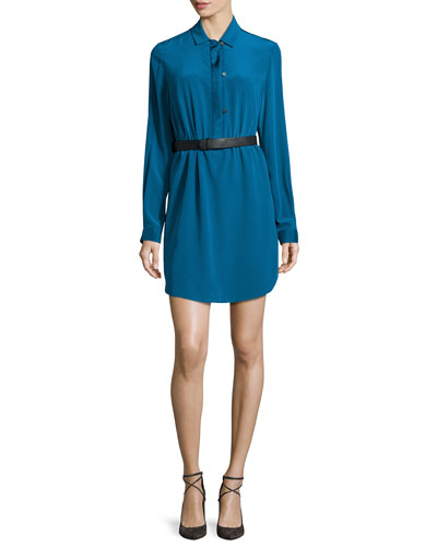 Long-Sleeve Belted Shirtdress, Dark Teal