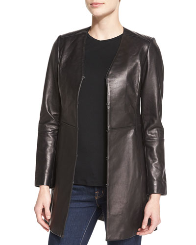V-Neck A-line Leather Topper