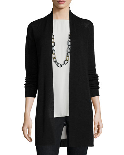 Tencel®-Linen Ribbed Cardigan, Petite