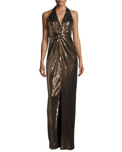 Embellished Halter-Neck Evening Gown, Bronze/Black