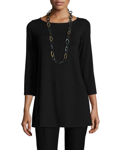 3/4-Sleeve Jersey Tunic, Black