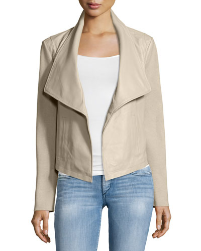 Leather Jacket W/ Knit Sleeves
