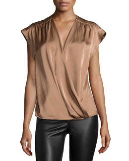 Cap-Sleeve Wrap-Front Blouse, Light Rust