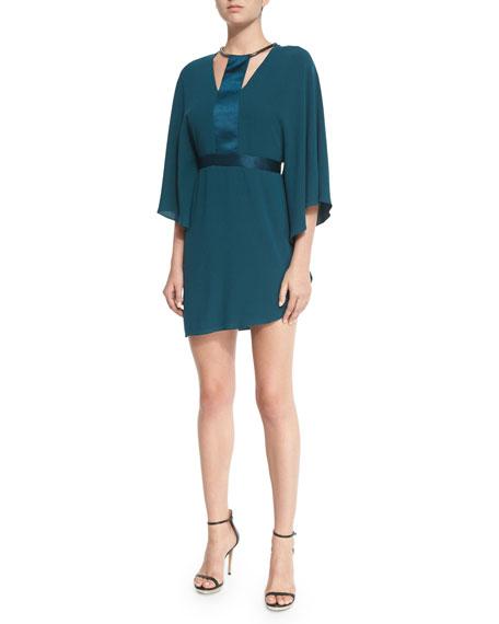 Halston Heritage Half-Sleeve Dress W/Contrast Trim, Spruce