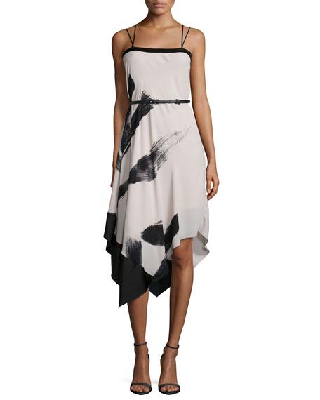Halston Heritage Cami Belted Asymmetric-Hem Dress