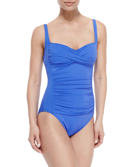 La Blanca Mio Ruched Sweetheart One-Piece Swimsuit, Periwinkle,