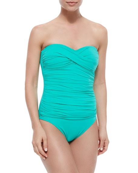 La Blanca Gathered Bandeau One-Piece Swimsuit