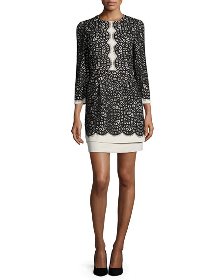 BCBGMAXAZRIA Elyssa Scalloped-Lace Dress, Oatmeal