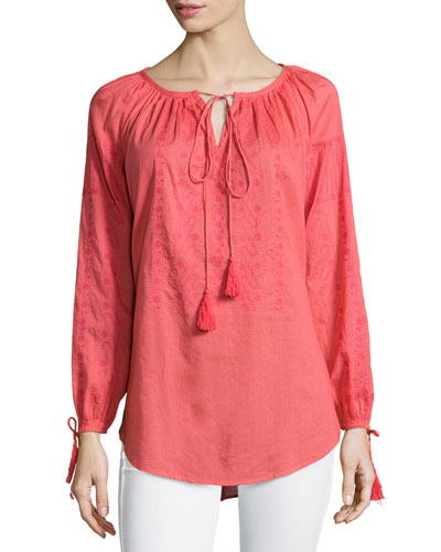 Long-Sleeve Knit Peasant Tunic, Coral