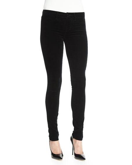 J Brand 815 Mid-Rise Super-Skinny Velvet Jeans, Black