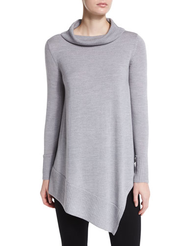 Long-Sleeve Merino Turtleneck Tunic, Petite