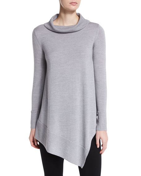 Eileen Fisher Long-Sleeve Merino Turtleneck Tunic, Petite