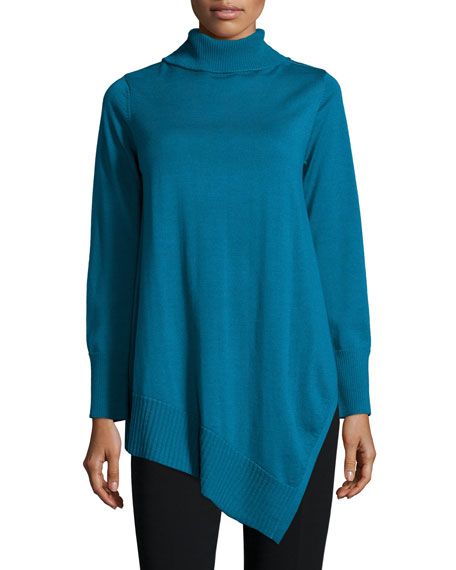 Eileen Fisher Long-Sleeve Merino Turtleneck Tunic, Plus Size