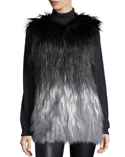Zia Degrade Faux-Fur Vest, Black/Gray