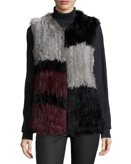 Cusp by Neiman Marcus Colorblock Rabbit-Fur Vest, Multi Colors