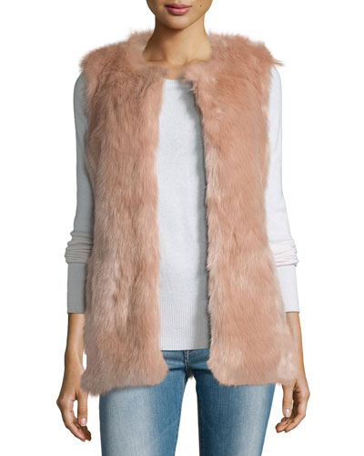 Faux-Fur Long Vest, Ballet Pink