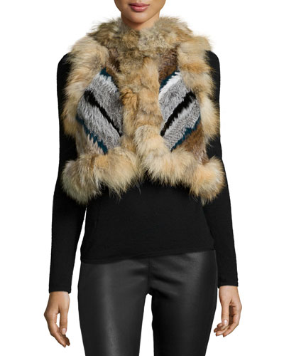 Robbie Cropped Fur Vest, Prussian Blue