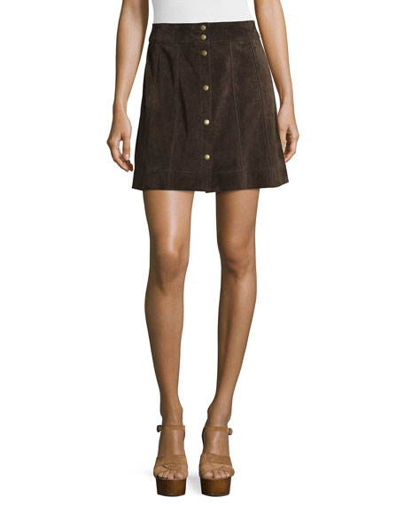 Le Paneled Suede Mini Skirt, Chocolate Brown