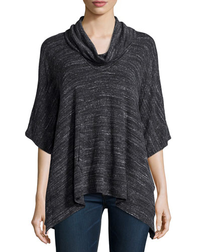 Tabbed-Sleeve Striped Top, Charcoal