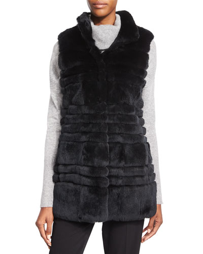 Colby Fur Long Vest, Black