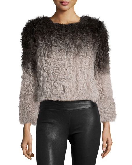 Cusp by Neiman MarcusOmbre Long-Sleeve Sweater, Ivory/Black