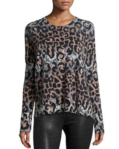 Long-Sleeve Leopard-Print Wool-Blend Top