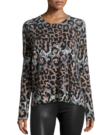 Derek Lam 10 Crosby Long-Sleeve Leopard-Print Wool-Blend Top