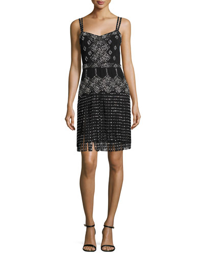 Embellished Sleeveless Dress W/Fringe, Black