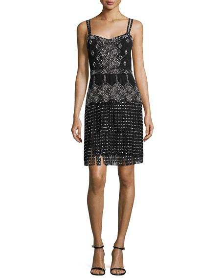 French Connection Embellished Sleeveless Dress W/Fringe, Black