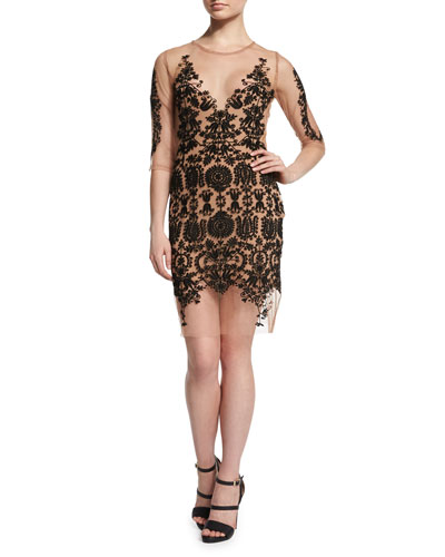 Lotus Embroidered Mesh Dress, Black