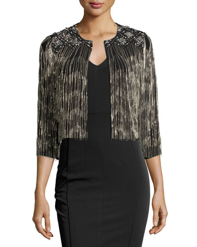 Embellished Diamond Fringe Cardigan, Black