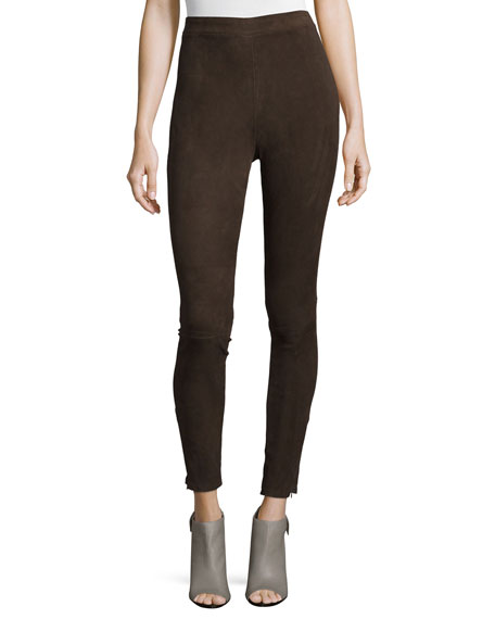 FRAME Le Suede Leggings, Chocolate Brown