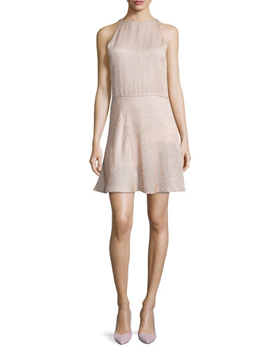 Halston Heritage Sleeveless Embellished Fit-&-Flare Dress, Buff