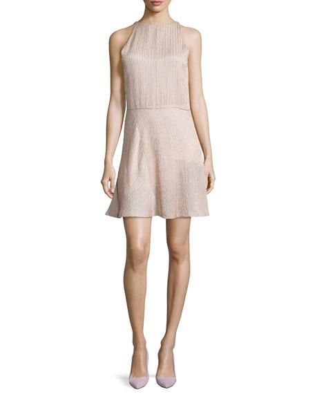 Halston HeritageSleeveless Embellished Fit-&-Flare Dress, Buff