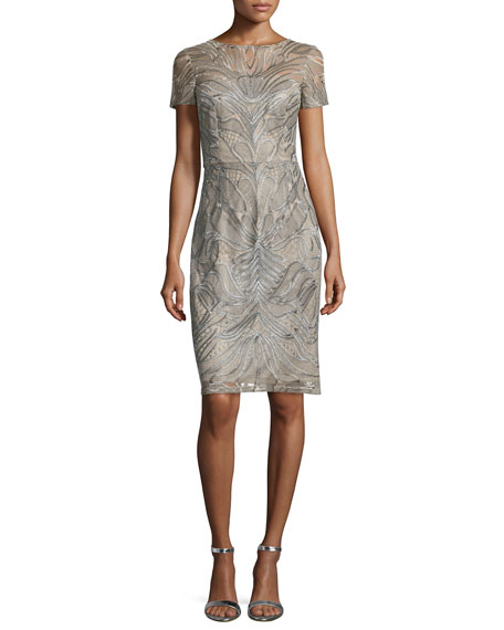 David Meister Short-Sleeve Embroidered Sheath Cocktail Dress
