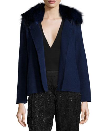 Double-Faced Jacket W/Fox Fur Collar, Navy