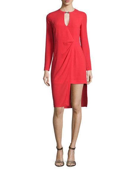 Halston Heritage Long-Sleeve Draped-Front Dress