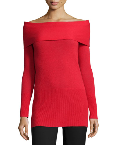 Cashmere Off-The-Shoulder Long-Sleeve Tunic, Lipstick