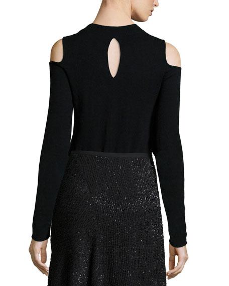 Crewneck Cold-Shoulder Sweater, Black
