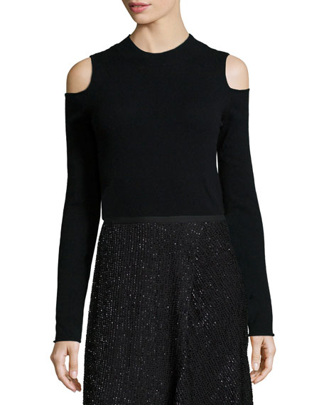 Crewneck Cold-Shoulder Sweater, Black
