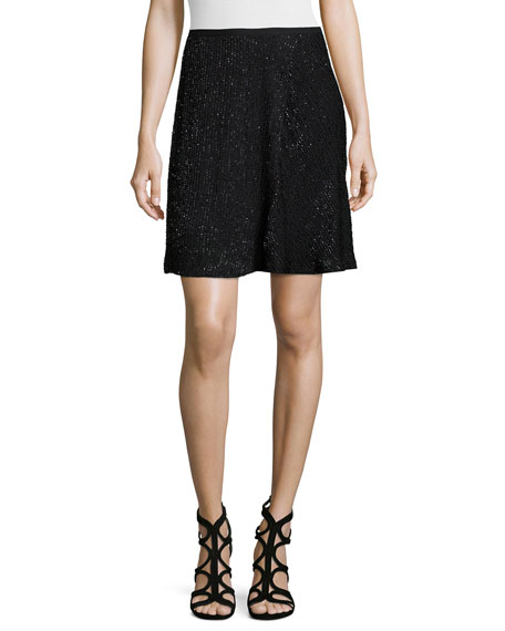 Embellished A-Line Skirt, Black