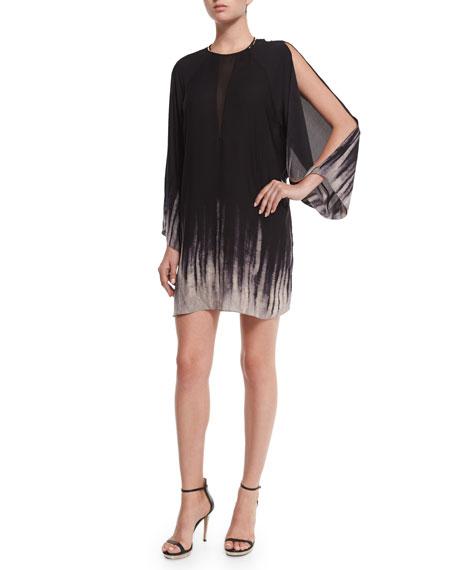 Halston Heritage Kaftan Dress W/ Slit Sleeves