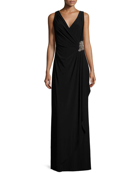 David Meister Sleeveless Faux-Wrap Draped Dress W/ Beaded Side