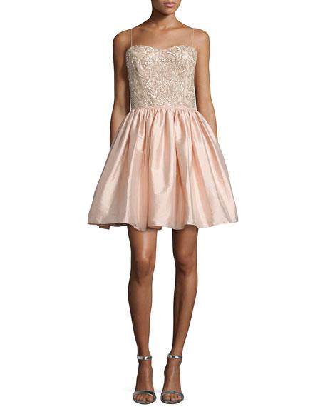 Aidan Mattox Embellished-Bodice Party Dress, Blush