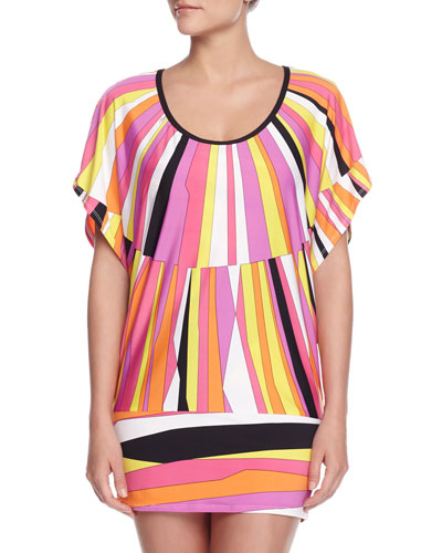 Sunburst Printed Tunic Coverup, Snapdragon Pink