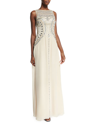 Sleeveless Beaded Flowy Gown