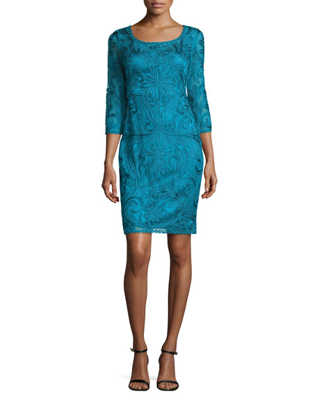 Sue Wong 3/4-Sleeve Lace Cocktail Dress