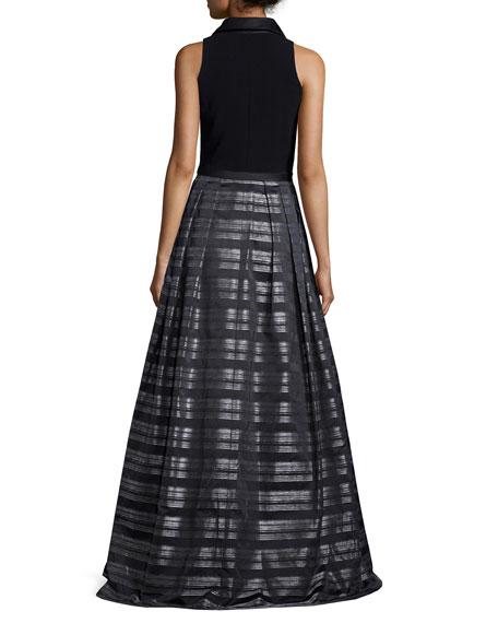 Sleeveless Striped Ball Gown